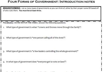 Forms of government worksheet answer key
