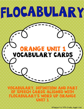Flocabulary Orange Unit 1 Vocabulary Cards - Fourth Grade