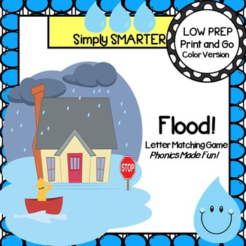 Flood!:  LOW PREP Rainy Day Themed Letter Matching Card Game