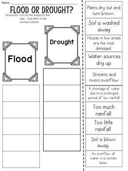 Flood or Drought? Cut and Paste Sorting Activity