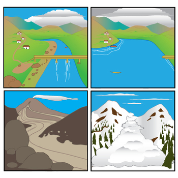 Mass Wasting Events and Floods - Avalanche - Mudslide - RockFall Clip Art Set