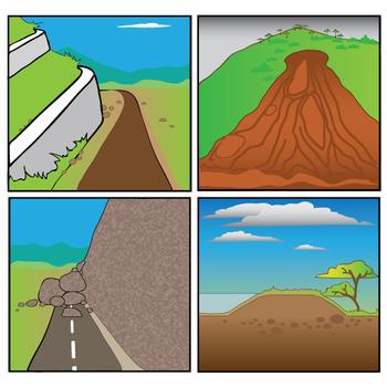 Mass Wasting Events and Floods - Avalanche - Mudslide - RockFall Clip Art Set