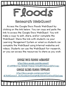 Floods Research Project with WebQuest and STEM