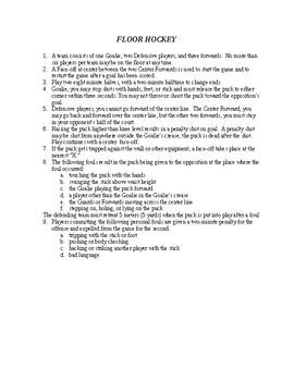 Floor Hockey Rules