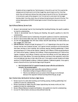 6-12 Grade Floor Hockey Unit Plan