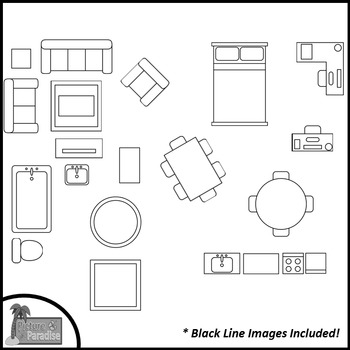 Floor Plan Furniture Clip Art For Digital Paper Resources By Clips And Salsa