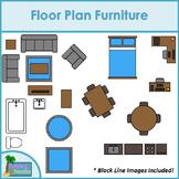 Floor Plan Furniture Clip Art for Digital & Paper Resources