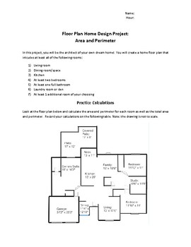 Floor Plan Home Design Project: Area and Perimeter
