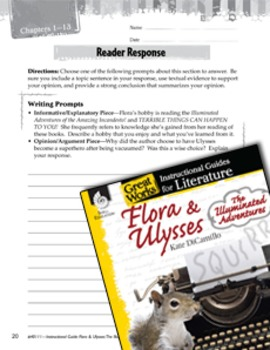 Flora & Ulysses: The Illuminated Adventure Reader Response Writing Prompts