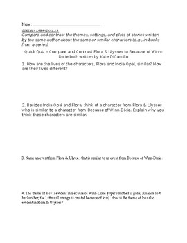 Flora and Ulysses Plot Elements End of Book Written Assessment & Bonus ~ CCSS