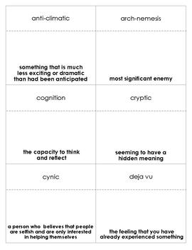Flora and Ulysses Vocabulary Bingo