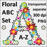 Floral ABC Set, Letters A-Z, Design Elements, Commercial U