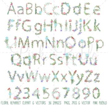 Floral Alphabet Clipart, Floral Alphabet Clip Art, Alphabe