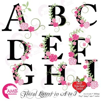 Floral Alphabet Clipart Letters A To I Floral Clipart Wedding