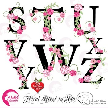 Floral Alphabet Clipart Letters S To Z Floral Clipart Wedding