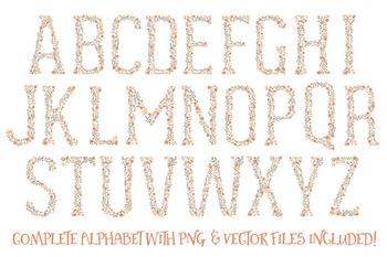 Floral Alphabet Clipart & Vectors in Antique Peach - Flower Clipart, Clip Art