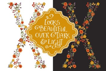 Floral Alphabet Clipart & Vectors in Autumn Colors - Flower Clipart, Clip Art