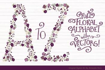Floral Alphabet Clipart & Vectors in Deep Plum - Flower Clipart, Floral Clip Art
