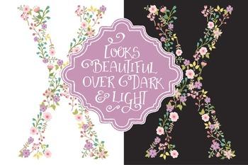 Floral Alphabet Clipart & Vectors in Garden Party - Flower Clipart, Clip Art