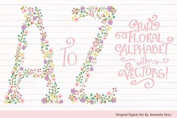 Floral Alphabet Clipart & Vectors in Garden Party - Flower