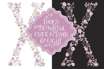 Floral Alphabet Clipart & Vectors in Lavender Color - Flower Clipart, Clip Art