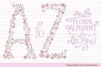Floral Alphabet Clipart & Vectors in Lavender Color - Flow