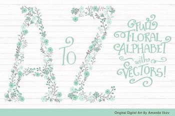 Floral Alphabet Clipart & Vectors in Mint - Flower Clipart, Floral Clip Art