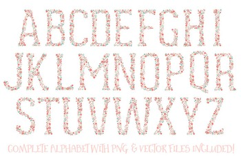 Floral Alphabet Clipart & Vectors in Mint and Coral - Flower Clipart, Clip Art