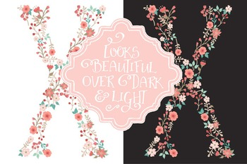 Floral Alphabet Clipart & Vectors in Mint and Coral - Flower Clipart, Clip Art