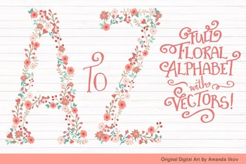 Floral Alphabet Clipart & Vectors in Mint and Coral - Flow