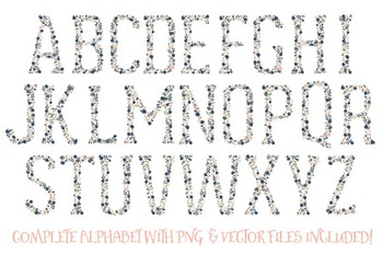Floral Alphabet Clipart & Vectors in Navy and Blush Colors - Flower Clipart,