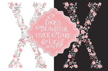 Floral Alphabet Clipart & Vectors in Pink and Grey - Flower Clipart, Clip Art