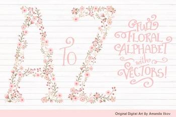Floral Alphabet Clipart & Vectors in Soft Pink - Flower Clipart, Floral Clip Art
