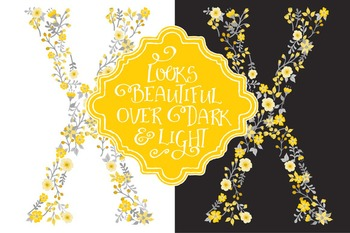Floral Alphabet Clipart & Vectors in Sunshine Yellow - Flower Clipart, Clip Art