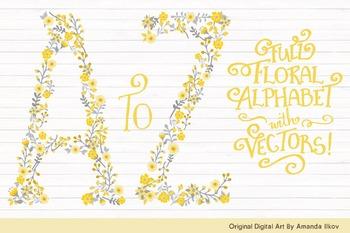 Floral Alphabet Clipart & Vectors in Sunshine Yellow - Flo