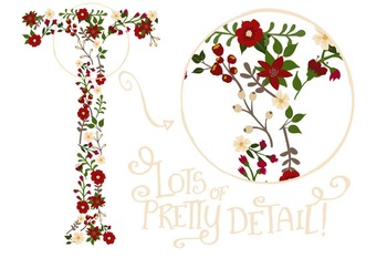 Floral Alphabet Clipart & Vectors in Traditional Christmas Colors - Flowers