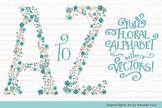 Floral Alphabet Clipart & Vectors in Vintage Blue Color - Flower Clip Art