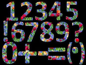 Floral Alphabet and Numbers Clip Art