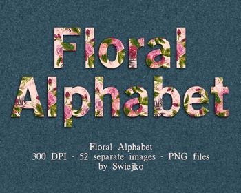 Floral Alphabet, watercolor letters, ABC & counting illustration
