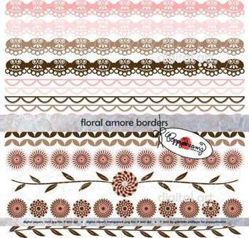 Floral Amore Borders by Poppydreamz