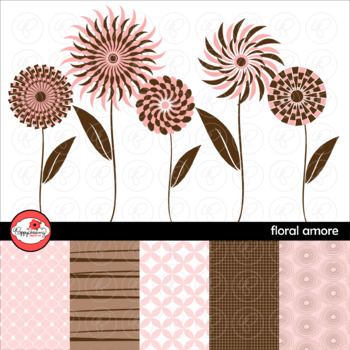 Floral Amore Clipart and Digital Papers by Poppydreamz