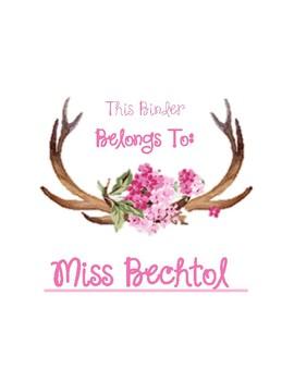 Floral Antler Binder Cover (uneditable)