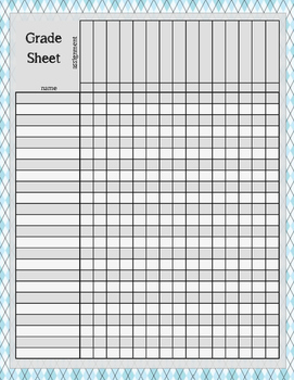 Floral, Argyle, Plaid Grade Grading Sheet