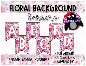 Floral  Background Classroom Banner Letters