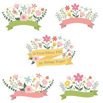 Banner flower. Floral header label clipart