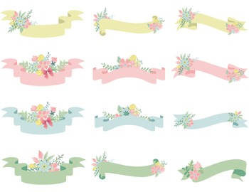Floral Banners Clip Art Wedding Invitation Pink Blue Green Yellow