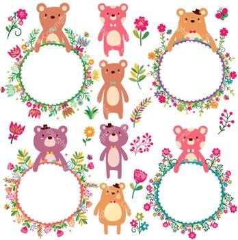 Floral Bear Frames Digital Clip Art (ED)