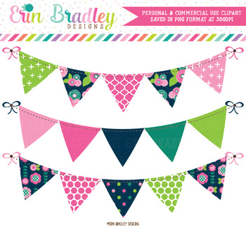 Floral Bloom Bunting Clipart Banners