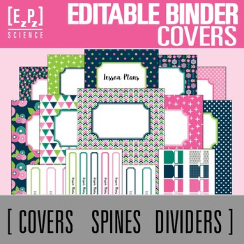 Floral Bloom Editable Binder Covers, Spines and Divider Tabs