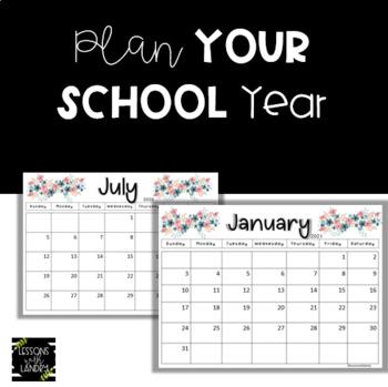 Floral Boho 2017-2018 {EDITABLE} School Calendar